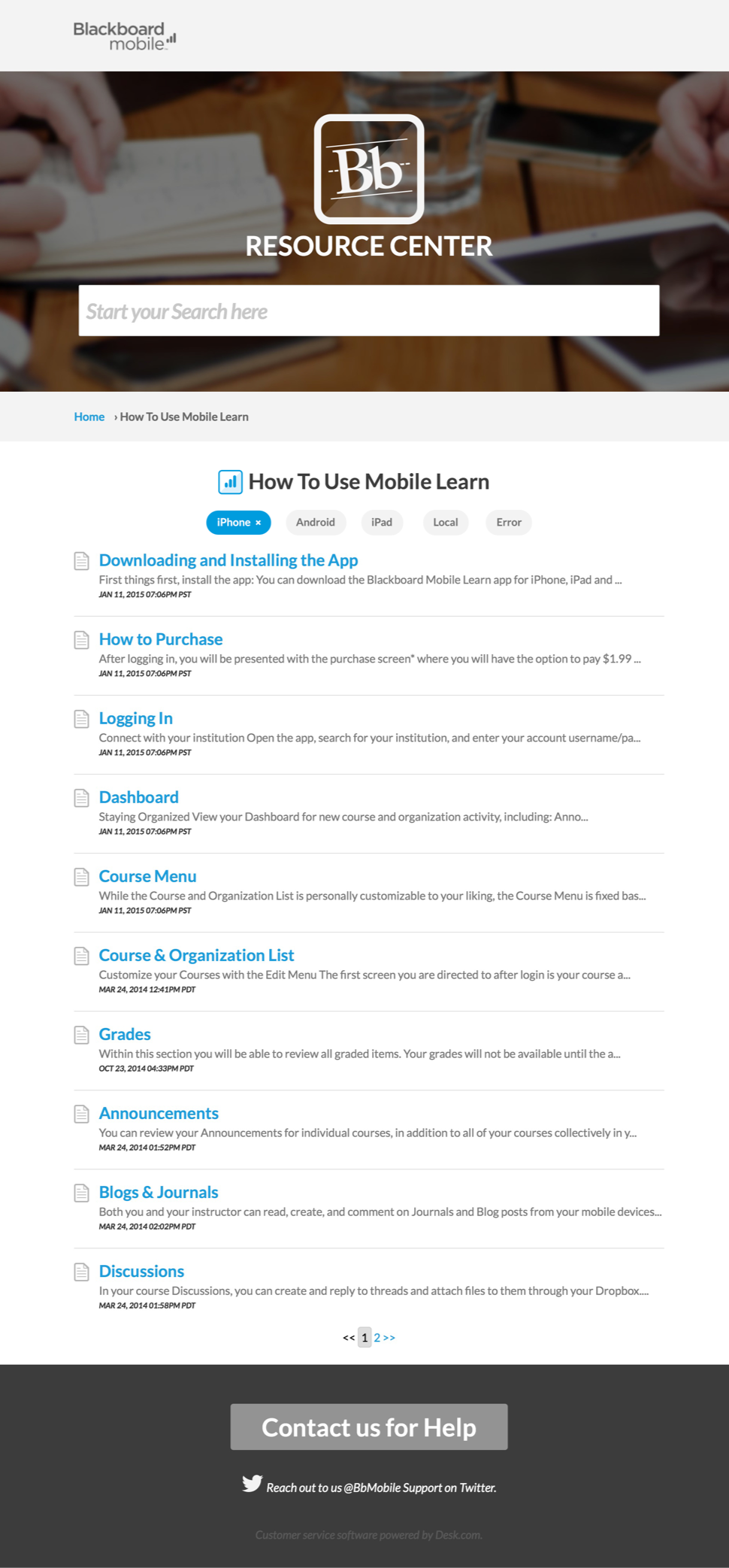 mobile learn helpdesk help article